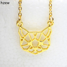 hzew Origami Cat face Necklace Cute Cat Necklace Geometric Cat Face Pendant Animal jewelry For Pets lovers