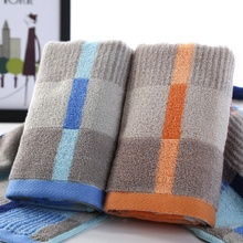 Hot Sales 100% Cotton Yarn Dyed Plaid Men Blue Yellow Shower Face Towel Soft Water Beach Bath Towel 34*76cm