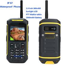 Original IP67 Rugged Waterproof phone shockproof 2G GSM Senior old man Mobile phone Walkie Talkie PTT X6 Sunlight LCD Dual sim