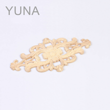 YUNA Flower Pattern Wood Carved Corner Woodcarving Decal Round Oak Wood Onlay Applique Home Furniture Cabinet Decor(China)