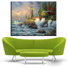 ZZ436 thomas kinkade cottage by the river canvas pictures oil art painting for livingroom bedroom decoration canvas prints art(China)