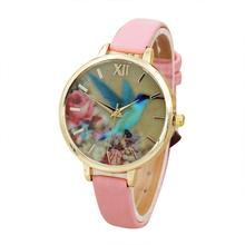 Fashion Blue Hummingbird Women Leather Band Analog Quartz Movement Wrist Watch A4274