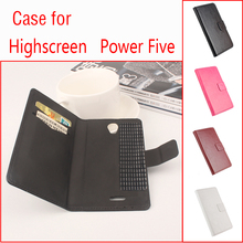 For Highscreen Power Five Phone Case Folio Flip Pure Color Crazy House Pattern Premium PU Leather Wallet Case Cover