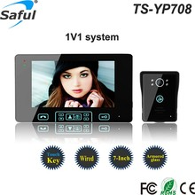 7''color TFT LCD wired video door Phone door intercom Waterproof video phone with Handfree Electric lock-control function