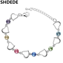 Trendy Bijouterie Crystal from Swarovski Charm Bracelets For Women Heart Vintage Fashion Jewelry  1891