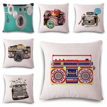 Vintage Carema Typewriter Pillow Cover Retro Radio Home Decor Cushion Cover Linen Cotton Throw Pillows Case Square kussenhoes