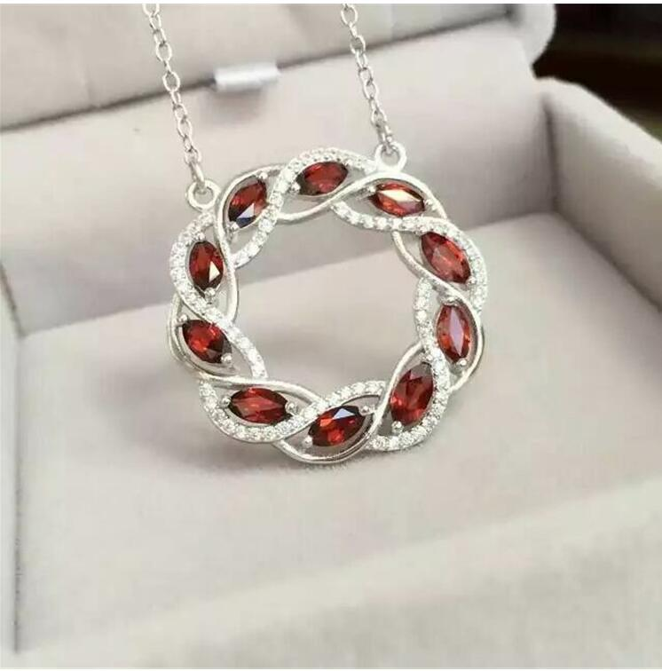 Natural garnet necklace pendant Free shipping Real origin red garnet 925 sterling silver Fine jewelry 4*6mm 10pcs