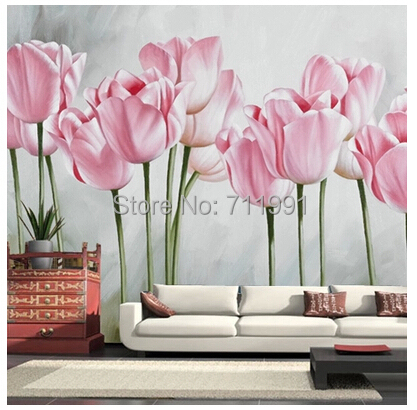 Free shipping custom modern 3D romantic pastoral tulip large mural of the bedroom sofa TV setting wall paper in wallpaper<br>