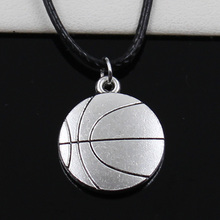 New Fashion Tibetan Silver Pendant double sided basketball Necklace Choker Black Leather Cord Factory Price Handmade Jewlery