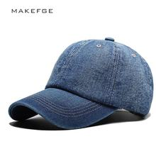 Denim Plain Solid Blue Jeans Style Baseball Hat Cap Cowboy Dad Hat Curved Ball Cap BLUE USA Distressed Vintage Look denim hats