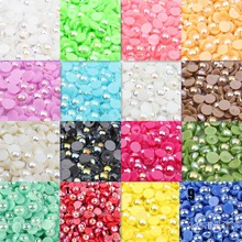Mixed Color Half Round ABS Imitation Pearl Beads Fake Flat Back Scrapbook Craft DIY Jewelry Findings 4mm 2000Pcs BMAB04m(China)