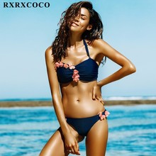RXRXCOCO 2017 Hot Design Swimwear Women Bikini Set Sexy Bandeau Beach Bathing Suit Push Up Floral Brazilian Bikini Swimsuits