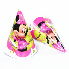 6pcs/lot Minnie Birthday hat party supplier Cheering Toys Cute cartoon theme party hat/cap cartoon paper cap(China)