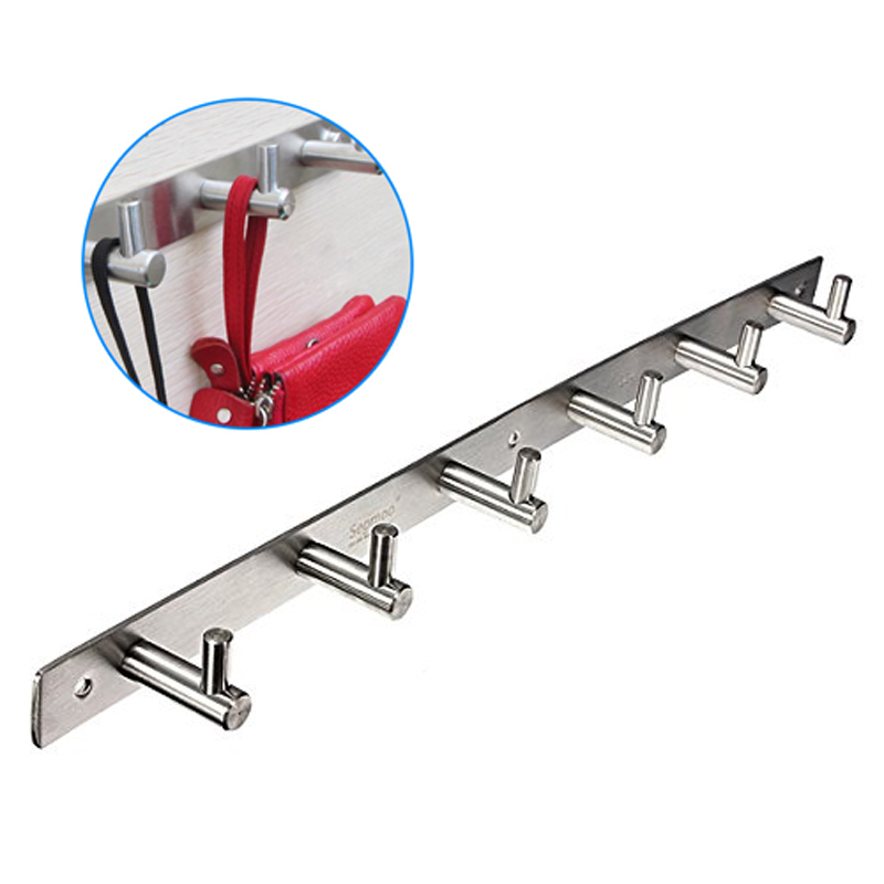 Delicate 6 Hook Stainless Steel Bathroom Storage Hooks Coat Hat Clothes Robe Holder Rack Wall Hanger Mount Stand Home Decoration<br>