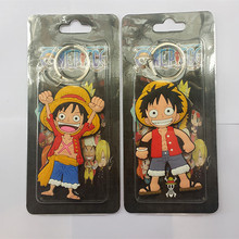 Wholesale Anime Cartoon Cute Kawaii One Piece Luffy keychain Action Figure Toys double-sided Silicone PVC keychain(China)