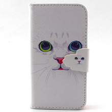 For Coque iPhone 4/4S Phone Case Cute White Cat Design Wallet Flip Stand Book Cover Case for Apple iphone 4 S 4S 4G freeshipping