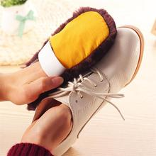 2016 Hot 1PCS Fashion Soft Home Use Shoes Cleaning Gloves High quality Cloth Polishing Shoe Brush Imitation Wool Free shipping