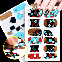 FWC 1 Sheet Full Cover Adhesive Nail Art Stickers Patch 3D Nails Beauty Foil Wraps Decoration Decal French Manicure Accessoires