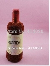Free Shipping! 100% Cotton Gift  Set Towel Red Wine Bottle Shape Design Towel Opp Packing