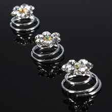 2016 12pcs Bridal Wedding Prom Silver Crystal Flower Hair Coils Spirals Twists Pins(China)