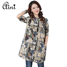 2017 New Spring Spring Casual Long Sleeve Stand Collar Single-breasted Printed Mini Shirt Dresses Women Cotton&Linen Vestidos