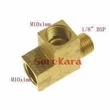 "M10x1mm female x M10x1mm female x 1/8"" BSPP male Thread 3 Way Tee Brass fitting adapter For Lube Tubing"