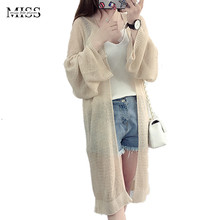 MISSFEBPLUM New 2017 Summer Women Sunscreen Cardigan Korean Style Solid Long Sleeve Casual Loose Long Sweater Cardigan Autumn