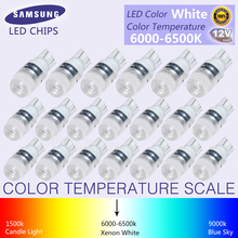 20Pcs New White Super Bright T10 LED Light 1.5W W5W 194 192 168 DC 12V Auto Car Bulb Reading Light Lamp Signal Light