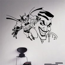 Joker and Batman Wall Vinyl Decal Comics Sticker Superhero Home Interior Art Decor Ideas Bedroom Kids Room Removable Murals X106