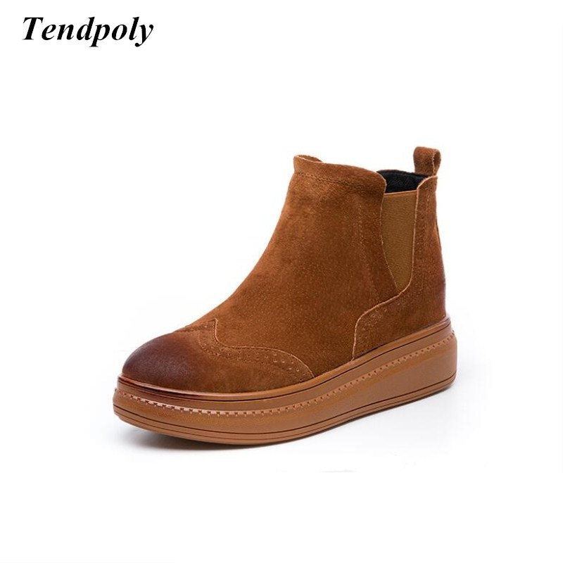 New cow cashmere fashion womens boots fall  winter thick-soled British style womens shoes popular wild paragraph casual boots<br>