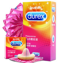 Durex Adult Game Natural Latex Condoms Ribbed and Dotted Extra Sensitivity Large-size Bumps Spike Condom for Men High Quality(China)