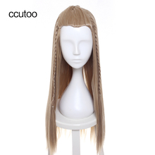 "ccutoo 28"" Blonde Long Straight Slicked Back Styled Braid Synthetic Full Hair Party Cosplay Costume Wigs Peluca"