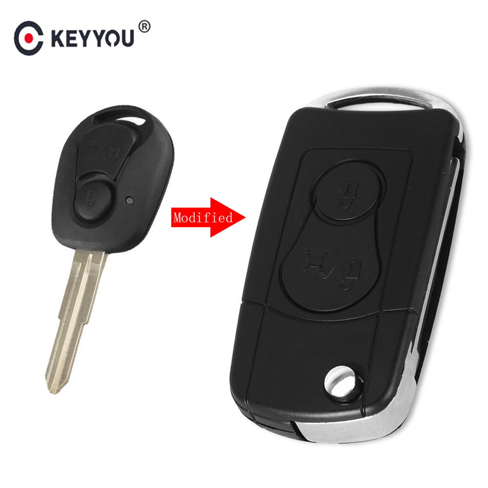 KEYYOU Uncut Blade 2 Button Modified Filp Car Remote Key Shell Fob Case Cover For Ssangyong Actyon SUV Kyron Rexton Car Styling(China)