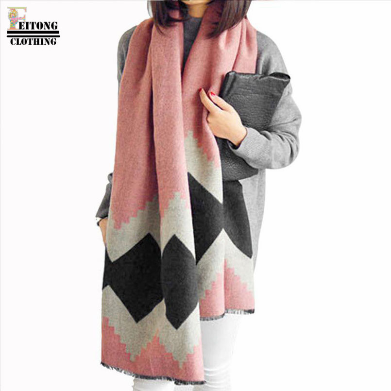 FEITONG 190*70cm Lady Women Long Soft imitation Cashmere Cotton Blanket Geometric Print Scarf Shawl Wrap cachecol inverno Mujer(China (Mainland))