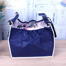 Navy Blue Storage Bag Foldable Tote Thermal Handbag Trolley Clip Cart Grocery Shopping Bags 36x25x37cm