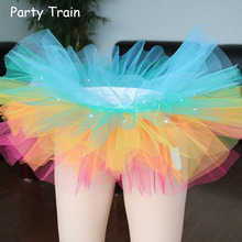 2017 New Voile Fashion Sexy Women Led Light Up Neon Fancy Rainbow Mini Tutu Halloween Costume Adult Skirt Ball Gown(China)