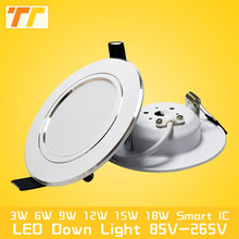 High power Led Downlight white 3W 5W 7W 9W 12W 15W 18W 220V LED Ceiling bathroom Lamps living room Home Indoor Lighting(China)