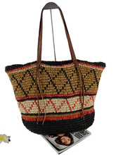women national ethnic design floral straw  tote messenger beach party bag
