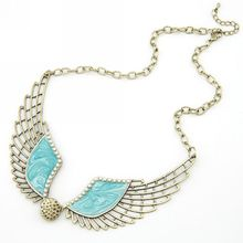 Free Airmail Shipping Fashion Popular Vintage Simulated Pearl Angle Wing Long Design Necklace N591