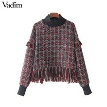 Vadim vintage fringe tassel plaid oversized shirt chic turtleneck retro loose blouse female warm casual tops blusas LT2322(China)