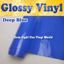High Quality Gloss Blue Vinyl Roll Blue Gloss Wrap Film Air Free Bubble For Car Decals Car Stickers Size:1.52*30m/Roll(China)