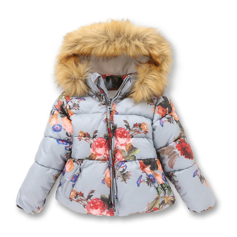 Winter Jackets for Girls Printed Wind-proof Zipper With Cap Kids Outerwear New Casual Cotton Childrens Jacket 1-10 Years OldОдежда и ак�е��уары<br><br><br>Aliexpress