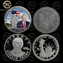 2016 Make America Great Again Status of Liberty America Challenge Coins 40mm Silver Plated US 45th President Donald Trump Coin