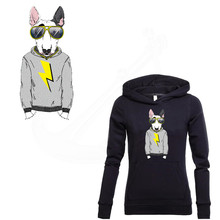 Hot Flash fashion dog 33.7*15.8cm patches T-shirt Dresses Sweater thermal transfer Patch for clothing By Household Irons(China)
