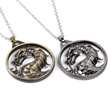 Fight Technology Game Necklaces And Keychains Vintage Fighting Games Mortal Kombat dragon Jane Empire Big Necklace movie jewelry(China)