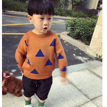Bobo Kids Choses Baby Girls Boys Sweaters New 2016 Spring Children's Clothing Fashion 1-5Yrs Children's sweater Triangle symbol(China)