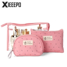 3 Set Casual Women Travel Cosmetic Bag PVC Leather Zipper Make Up Transparent Makeup Case Organizer Storage Pouch Toiletry Bags(China)