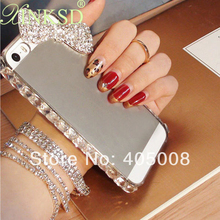 Clear Diamond Bling Case For Apple iPhone 5 5S 4 4s iPhone5 Cases rhinestone bowknot cell phone cover for Huawei P6