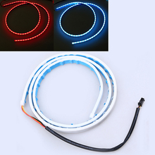 POSSBAY Red And Ice Blue LED Running/Brake/Reverse/Signal/Rear Strip Light Lamp Flexible Car Trunk Flowing Tail Lights(China)