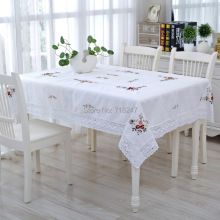New Hot Sale White Elegant Handmade Crochet Tablecloth Cover Ribbon Embroidery Crocheted Table Cloth Linen Overlay 2800